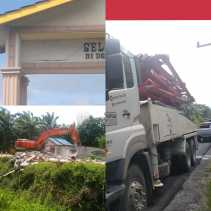 Kades Sei Lembu Sebut Kecewa Kepada PT HKI, Mobil Proyek Jalan Tol di Kampar Tabrak Gapura