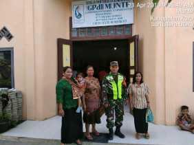 Babinsa Gelar Pengamanan GPDI di Desa Munthe, Danramil: Tempat Ibadah Objek Vital Wilayah Binaan