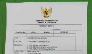 Mendagri Baru Kirim SK Penunjukan Plt Gubernur Riau