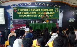 Tokoh Agama, Masyarakat, Pemuda, Mahasiswa Dibekali Wasbang Cegah Radikalisme di Kodim 0205/TK