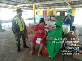 Babinsa Koramil 05/PY Kawal pelaksanaan Vaksinasi tahap II Dosis 2 terhadap masyarakat