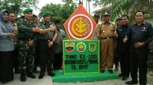 Penutupan TNI-MMD ke 100 di Rohil, Danrem 031/WB  Meresmikan Musallah At-Tin