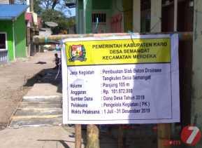 Dana Desa 2019: Proyek Slab Beton Drenaise di Desa Semangat  Rampung Dikerjakan