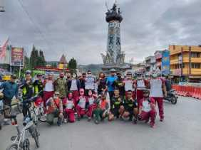 Dandim 0205/TK, Wadanyon 125/Smb dan Kapolres Karo Gowes Sepeda Bareng Sejauh 15 Kilometer
