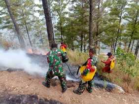 Personil Koramil 02/TP Bantu Padamkan Kebakaran Hutan Di Sipiso Piso