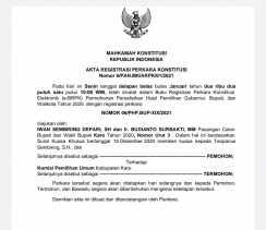 Diajukan Paslon Nomor Urut 1 dan 3, MK Terbitkan BRPK Terkait Sengketa Pilkada Karo