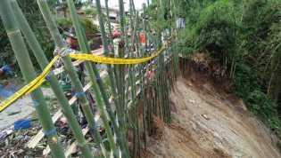 Longsor yang Jurangnya Dalam di Desa Lingga Julu, Belasan Bambu Dipasang, Ini Penjelasan Danramil/04